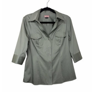 Thomas Pink army green form fitted stretch button down collared shirt